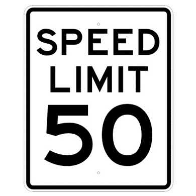 Speed Limit 50 mph sign, MUTCD R2-150, Reflective sheeting on heavy duty aluminum - U.S. Signs and Safety