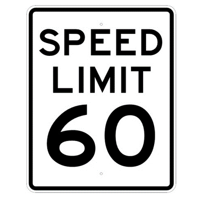 Speed Limit 60 mph sign, MUTCD R2-160, Reflective sheeting on heavy duty aluminum - U.S. Signs and Safety