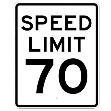 Speed Limit 70 mph sign, MUTCD R2-170, Reflective sheeting on heavy duty aluminum - U.S. Signs and Safety
