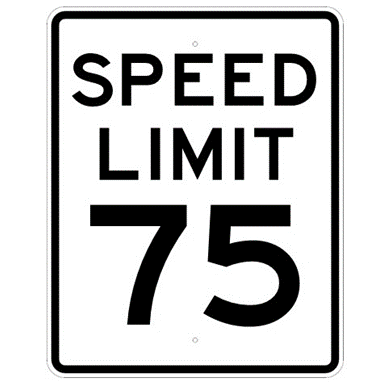 Speed Limit 75 mph sign, MUTCD R2-175, Reflective sheeting on heavy duty aluminum - U.S. Signs and Safety