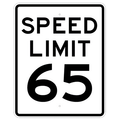 Speed Limit 65 mph sign, MUTCD R2-165, Reflective sheeting on heavy duty aluminum - U.S. Signs and Safety