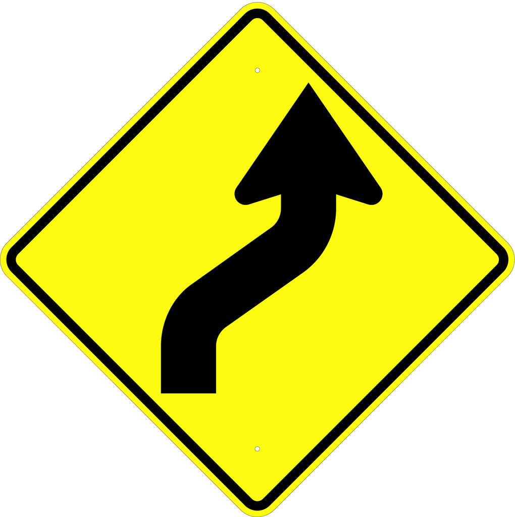 Reverse Curve Right Symbol Sign - U.S. Signs and Safety