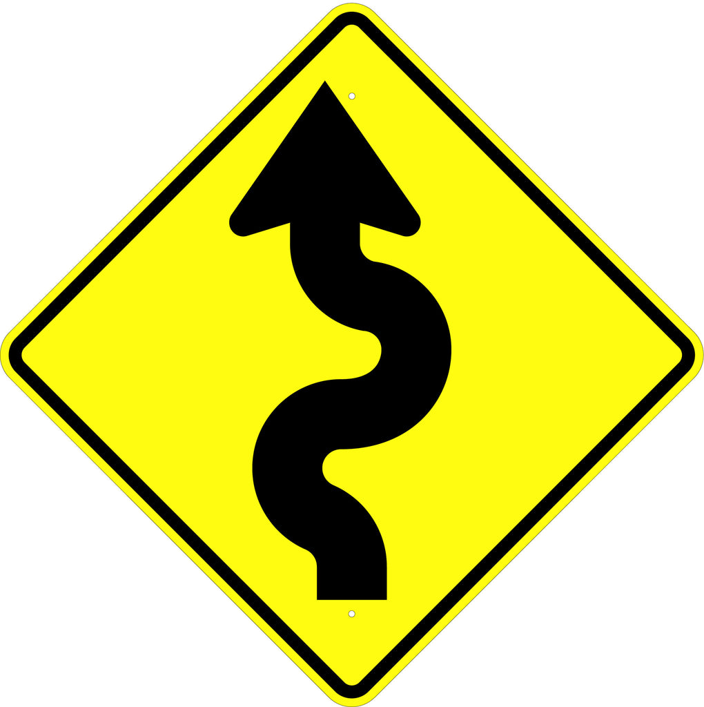 Winding Road Left Symbol Sign - U.S. Signs and Safety