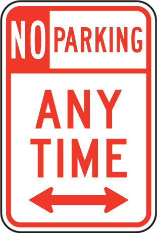 No Parking Any Time Sign With Double Arrow - U.S. Signs and Safety
