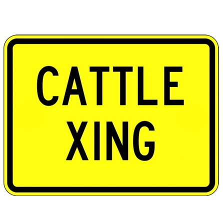 Cattle Crossing Text Sign - U.S. Signs and Safety