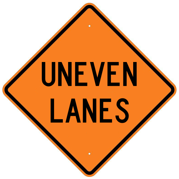 Uneven Lanes Sign - U.S. Signs and Safety