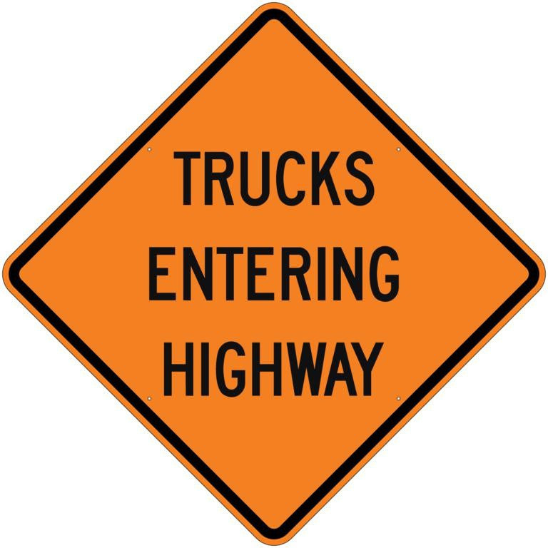 Trucks Entering Highway Roll Up Sign - U.S. Signs and Safety - 1