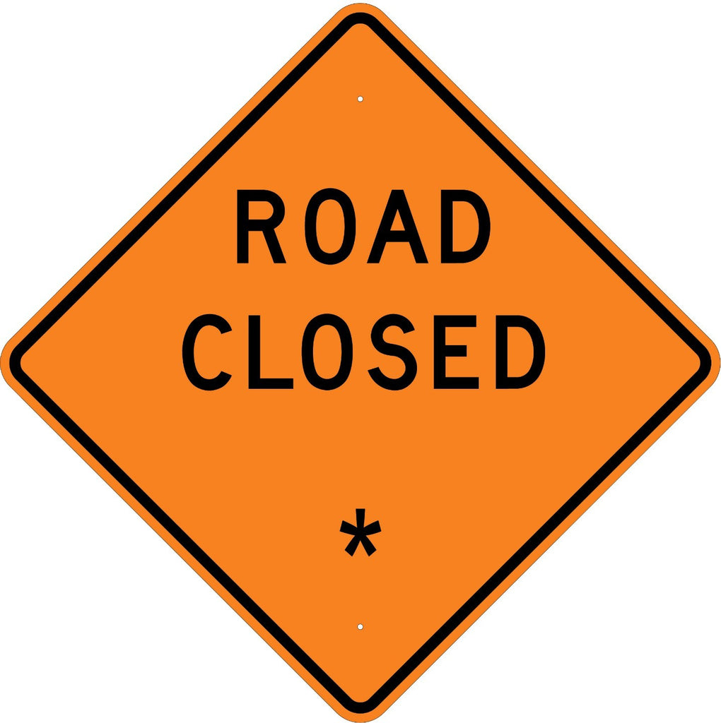 Road Closed * Roll Up Sign  MUTCD W203 - U.S. Signs and Safety - 1