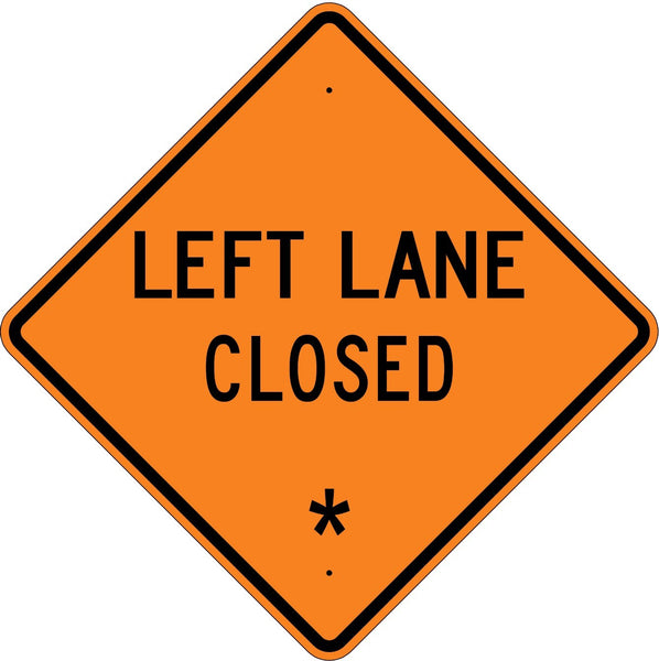 Left Lane Closed * Roll Up Sign MUTCD W205L - U.S. Signs and Safety - 1