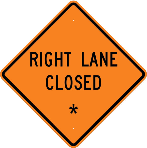 Right Lane Closed * Roll Up Sign  MUTCD W205R - U.S. Signs and Safety - 1