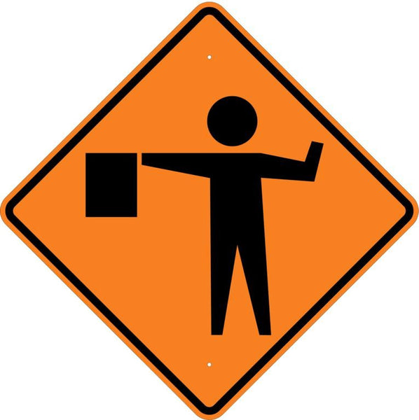 Flagger Symbol Roll Up Sign MUTCD W207 - U.S. Signs and Safety - 1