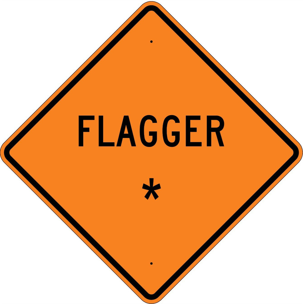 Flagger * Roll Up Sign in text  MUTCD W207A - U.S. Signs and Safety - 1