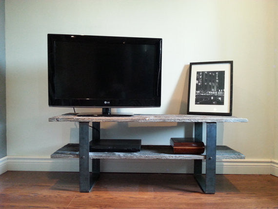 Update 2 Shelf Traditional Barn Wood Tv Console Media Stand
