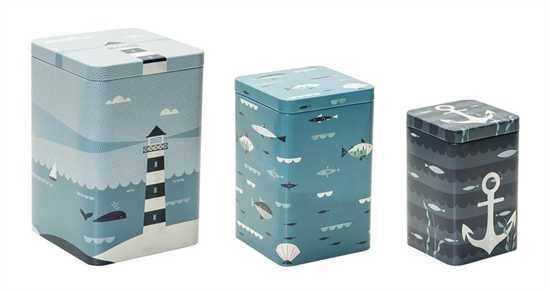 Ahoy! Tall Tins - Set Of 3 Nesting