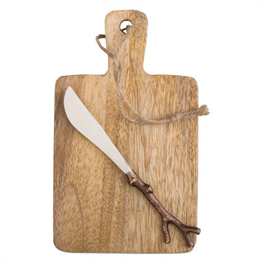 Mango Wood Serving Board & Spreader