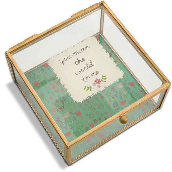 You Mean the World to me - Glass Keepsake Box
