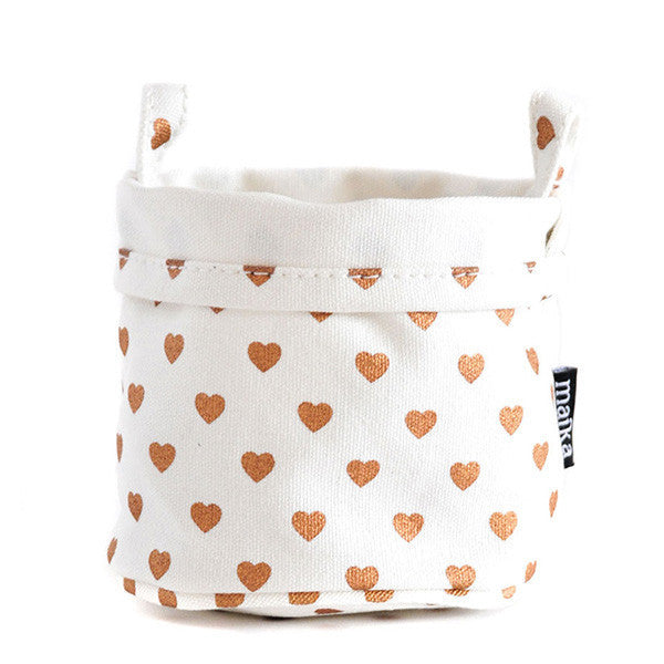Hearts Copper Recycled Canvas Bucket