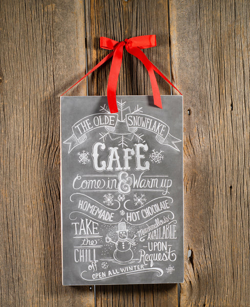 Snowflake Café Chalk Sign