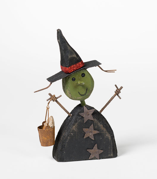 Wooden Tick or Treat Witch