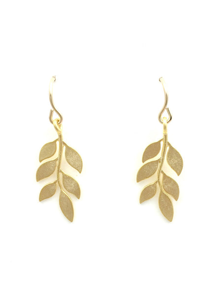 Delicate Gold Leaf Dangle Earrings