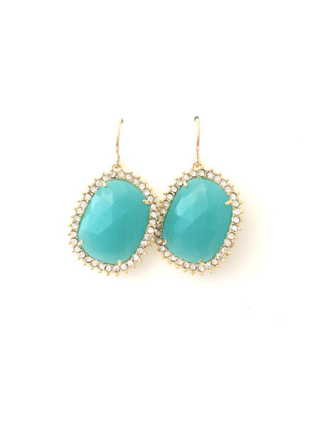 Turquoise Framed Dangle Earrings