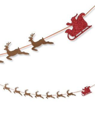 Santa & Reindeer Garland Traditional