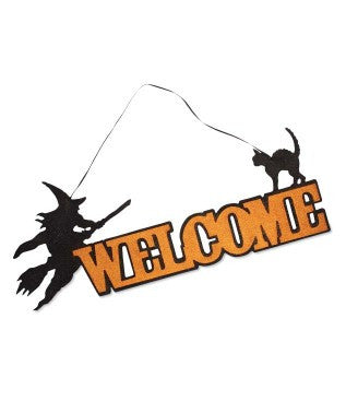 Glittered Haunting Welcome Sign