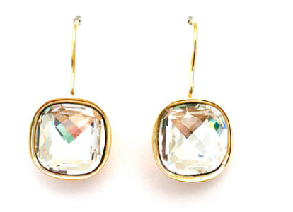 Swarovski Crystal Square Gold Drop Earrings