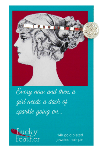 Jeweled Hair Pin Silver Disc