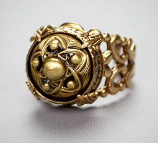 Antique Button Adjustable Ring