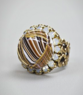 Striped and Gilded Ring