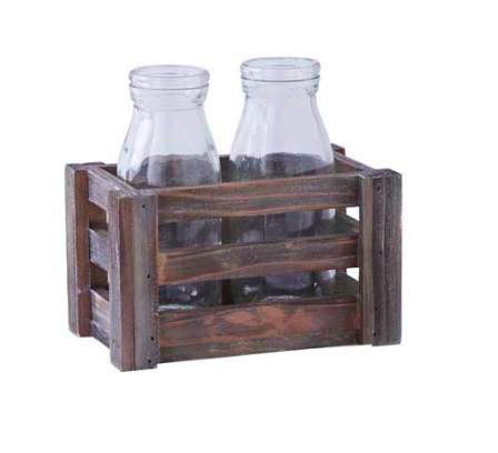 Brown Wood Crate with 2 Glass Bottles