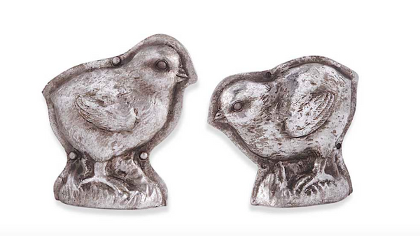 Set of Antique Silver Resin Assorted Embossed Chicks