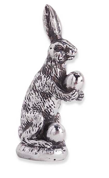 Silver Resin Bunny Carrying Egg