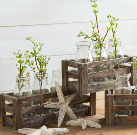 Brown Wood Crate with 4 Glass Bottles