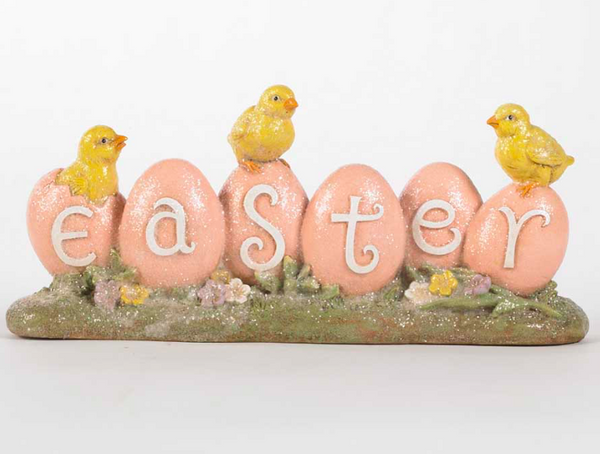 Pink Easter Sign with Chicks