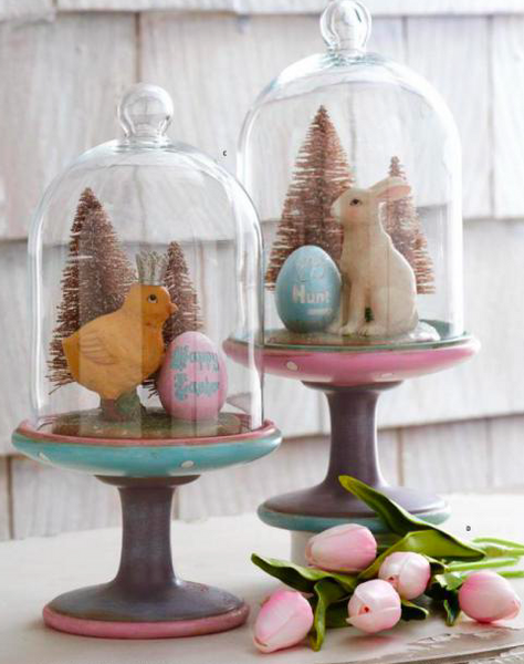 Easter Glass Domes on Pedestal