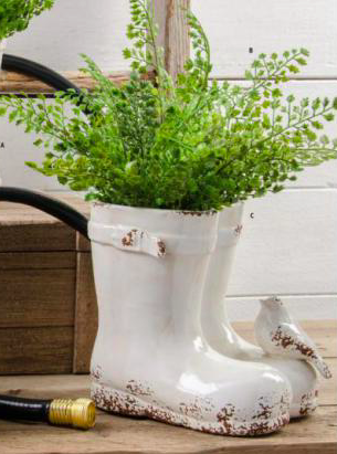 White Ceramic Weathered Double Boot Planter