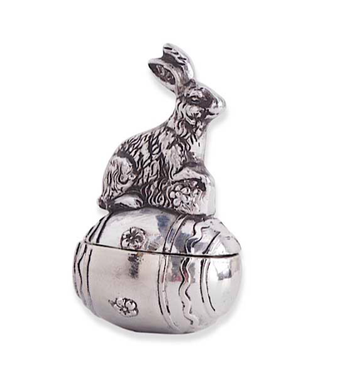 Silver Resin Lidded Egg with Bunny on Top