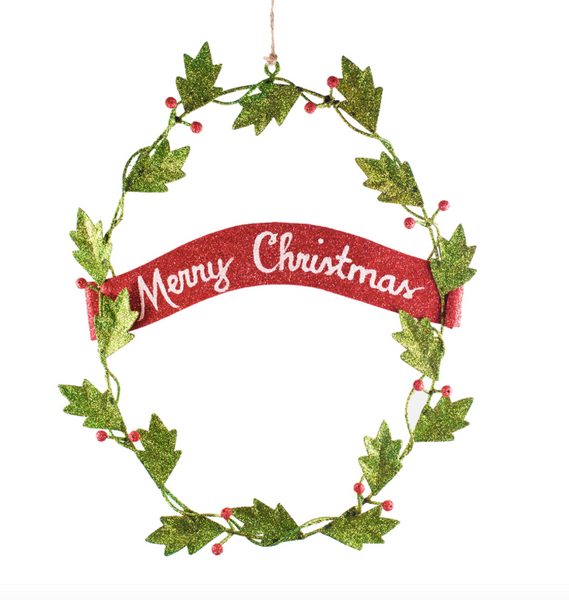 "11"" Wreath Wall Hanger with Merry Christmas"