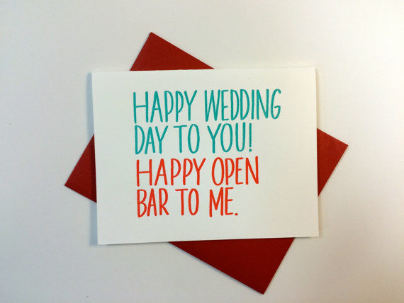 Happy Open Bar letterpress card