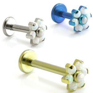 Opal Flower Internally Threaded Titanium Labret Stud 1.6mm