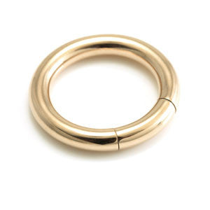 2.4mm heavy gauge rose gold PVD steel smooth segment ring