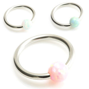Ball closure ring with clip in synthetic opal ball. 316L surgical steel in 1.0mm