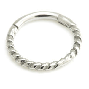 Twisted design hinged segment ring suitable for septum or lip piercings in 316L surgical steel, sizes 1.2mm x 6mm - 10mm