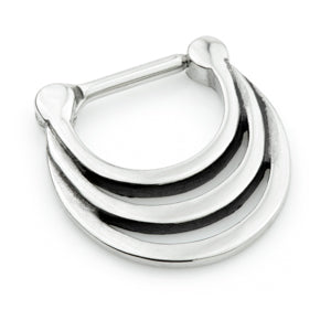 316L Surgical steel hinged inverted graduated loop septum ring.