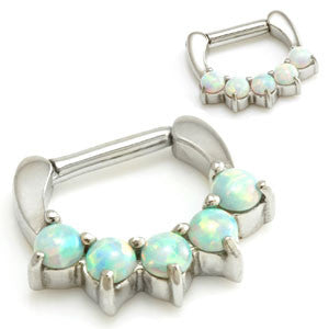 316L Surgical Steel 5 Opal Septum Clicker