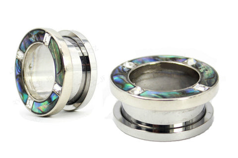 316L surgical steel abalone and jewel rim screwback flesh tunnels