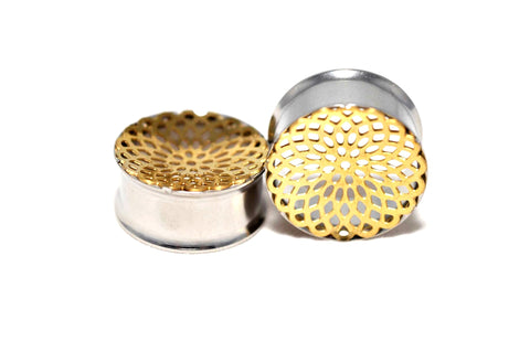 316L surgical steel double flared gold pvd front mandala pattern flesh tunnels 12mm - 24mm