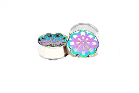 316L surgical steel double flared eyelet tunnel with rainbow coloured mandala pattern front
